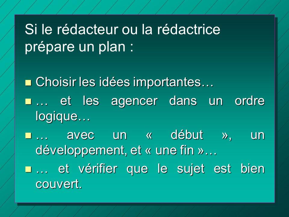 Si le rédacteur ou la rédactrice prépare un plan : n Choisir les idées importantes… n … et les agencer dans un ordre logique… n … avec un « début », u