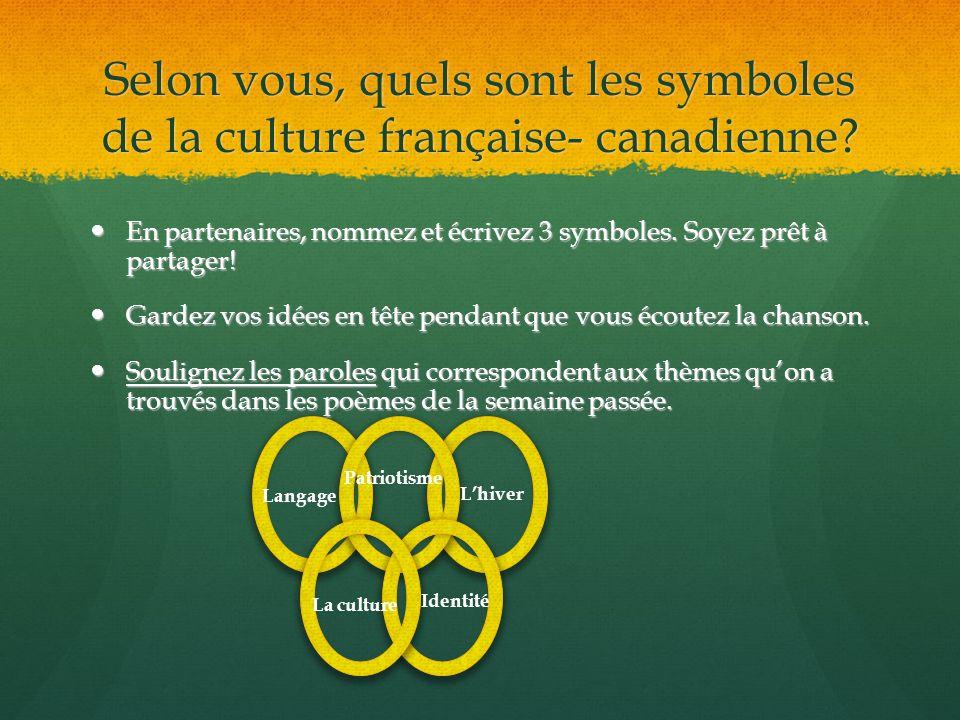 Selon vous, quels sont les symboles de la culture française- canadienne? En partenaires, nommez et écrivez 3 symboles. Soyez prêt à partager! En parte