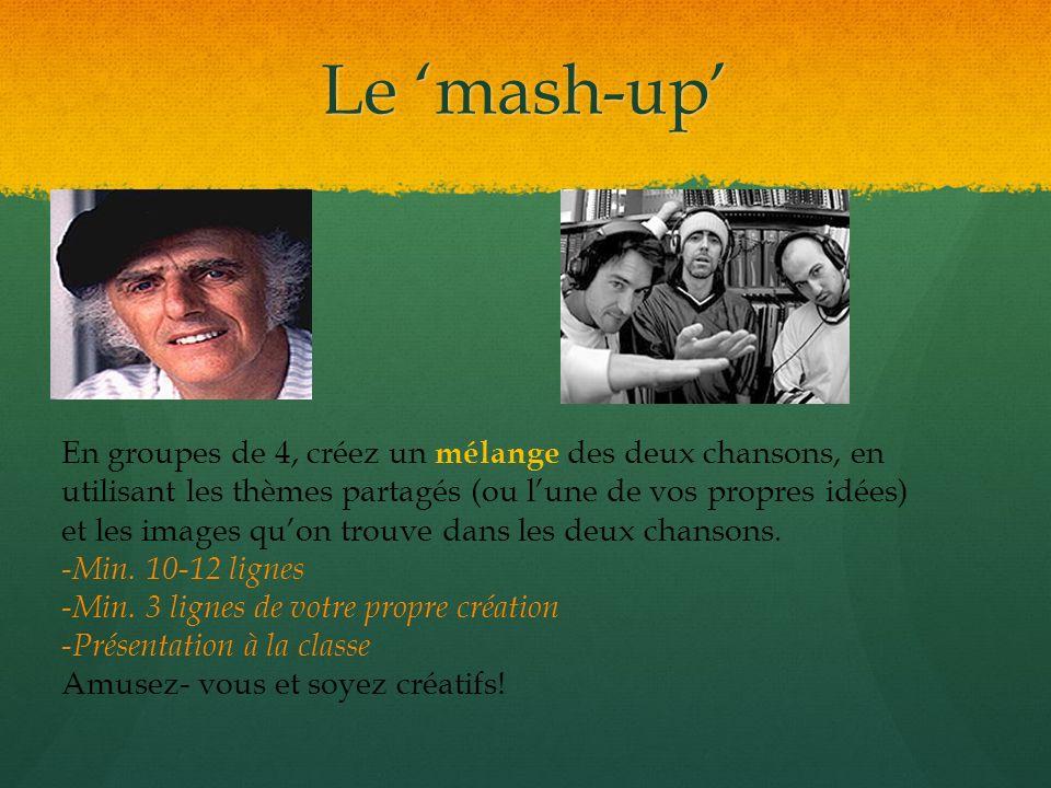 Le mash-up En groupes de 4, créez un mélange des deux chansons, en utilisant les thèmes partagés (ou lune de vos propres idées) et les images quon tro