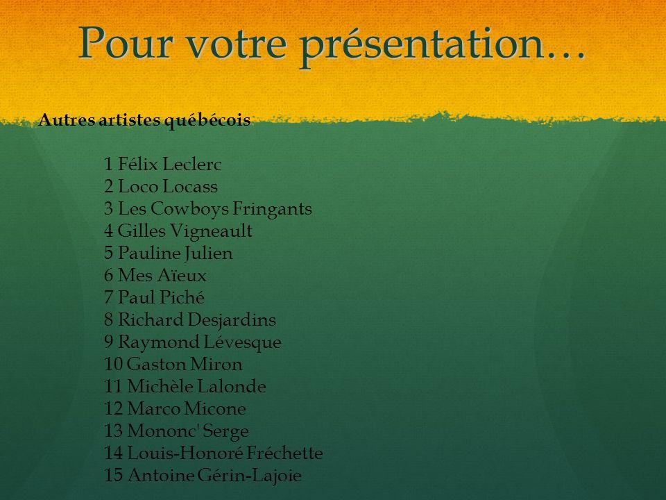 Pour votre présentation… Autres artistes québécois 1 Félix Leclerc 2 Loco Locass 3 Les Cowboys Fringants 4 Gilles Vigneault 5 Pauline Julien 6 Mes Aïe