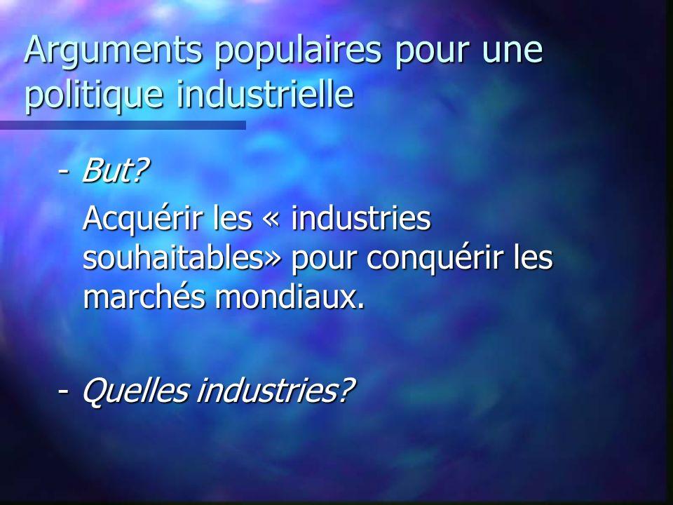 Arguments populaires pour une politique industrielle - But? Acquérir les « industries souhaitables» pour conquérir les marchés mondiaux. - Quelles ind