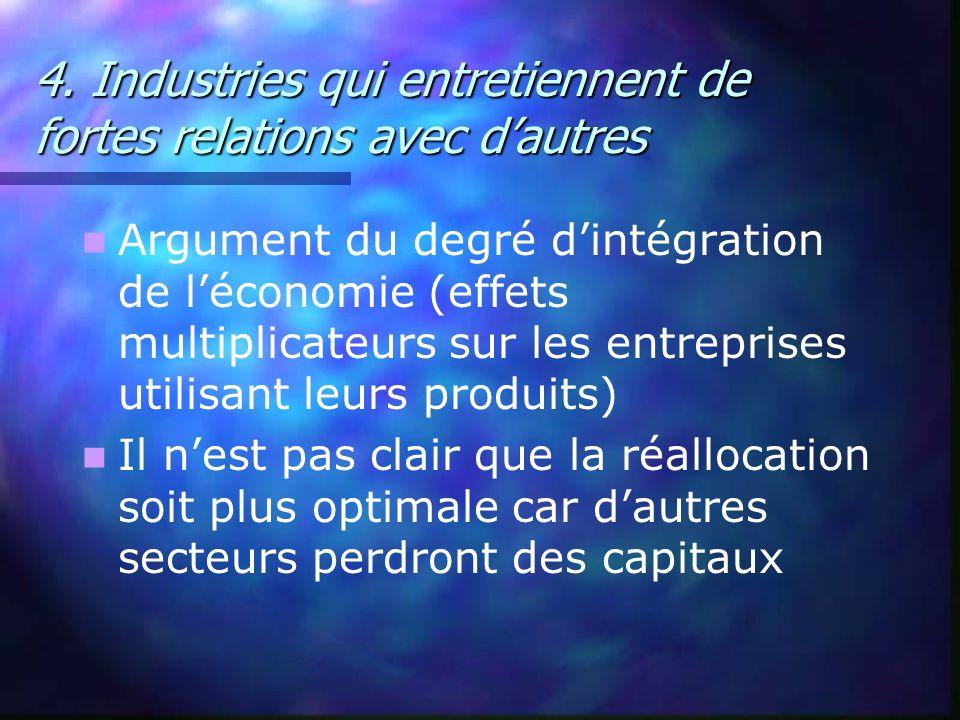 4. Industries qui entretiennent de fortes relations avec dautres Argument du degré dintégration de léconomie (effets multiplicateurs sur les entrepris