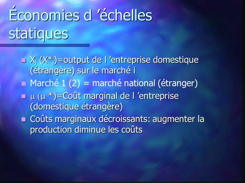 Économies d échelles statiques X i (X* i )=output de l entreprise domestique (étrangère) sur le marché i X i (X* i )=output de l entreprise domestique