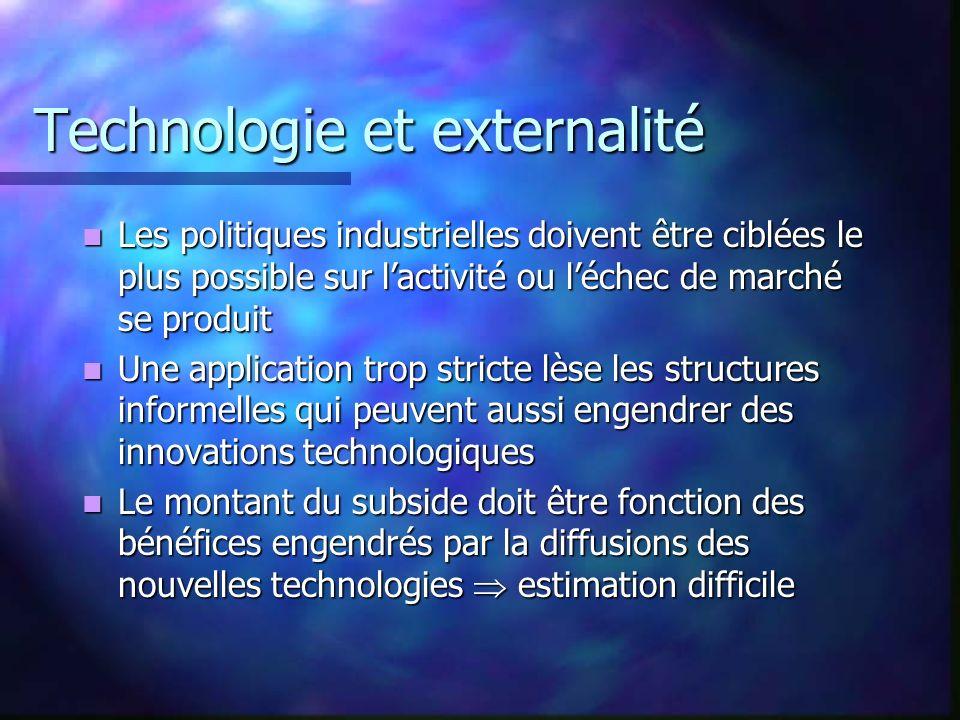 Technologie et externalité Les politiques industrielles doivent être ciblées le plus possible sur lactivité ou léchec de marché se produit Les politiq