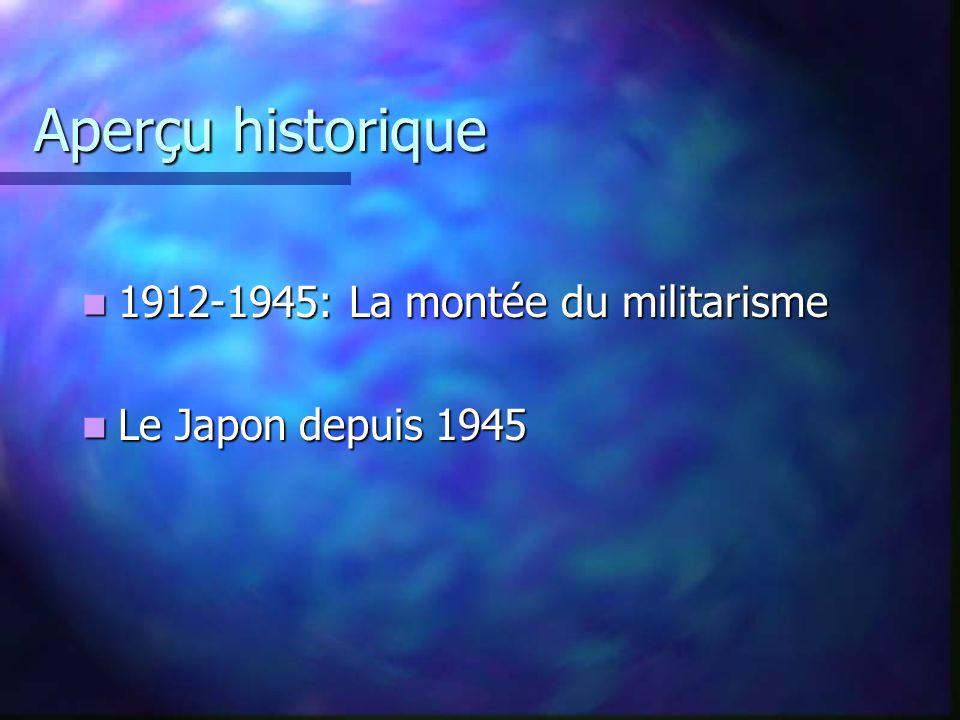 Aperçu historique 1912-1945: La montée du militarisme 1912-1945: La montée du militarisme Le Japon depuis 1945 Le Japon depuis 1945