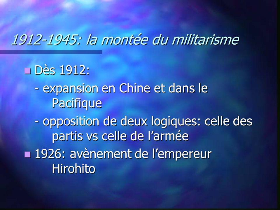 1912-1945: la montée du militarisme Dès 1912: Dès 1912: - expansion en Chine et dans le Pacifique - opposition de deux logiques: celle des partis vs c