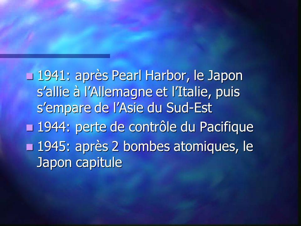 1941: après Pearl Harbor, le Japon sallie à lAllemagne et lItalie, puis sempare de lAsie du Sud-Est 1941: après Pearl Harbor, le Japon sallie à lAllem