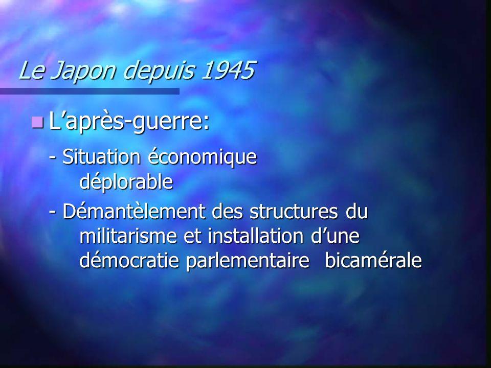 Le Japon depuis 1945 Laprès-guerre: Laprès-guerre: - Situation économique déplorable - Démantèlement des structures du militarisme et installation dun