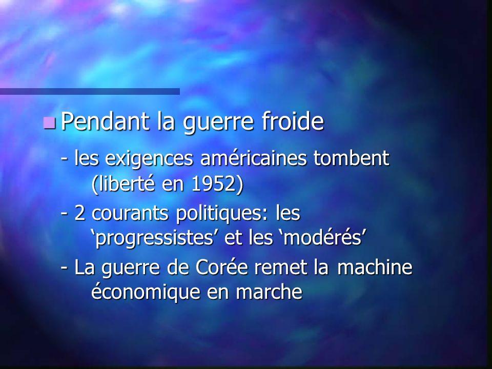 Pendant la guerre froide Pendant la guerre froide - les exigences américaines tombent (liberté en 1952) - 2 courants politiques: les progressistes et