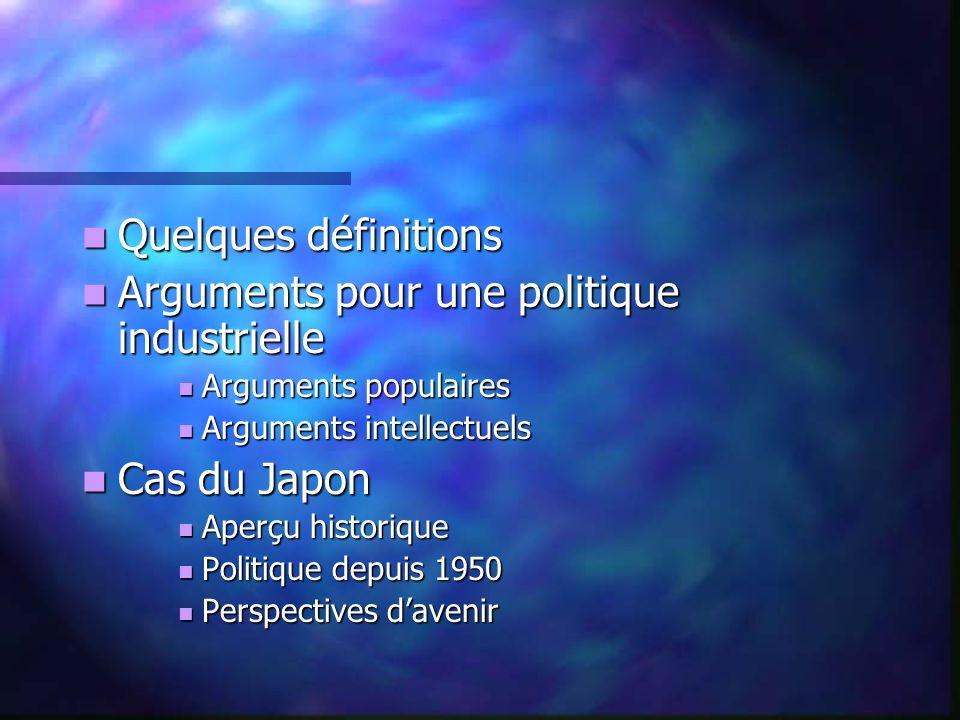 Quelques définitions Quelques définitions Arguments pour une politique industrielle Arguments pour une politique industrielle Arguments populaires Arg