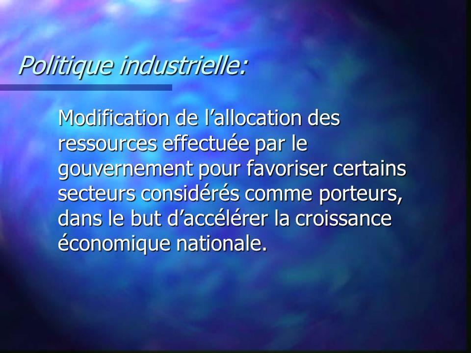 Politique industrielle: Modification de lallocation des ressources effectuée par le gouvernement pour favoriser certains secteurs considérés comme por