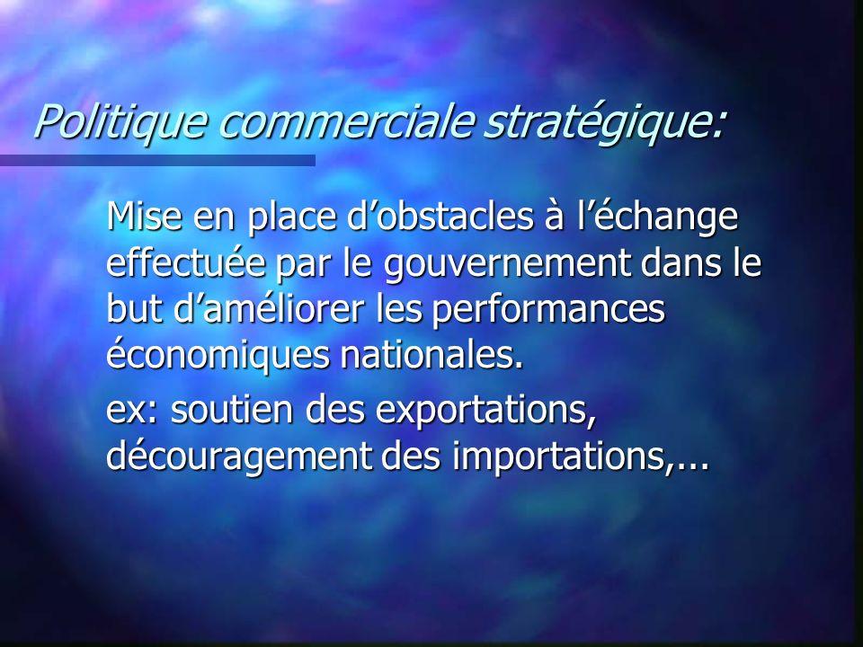 Politique commerciale stratégique: Mise en place dobstacles à léchange effectuée par le gouvernement dans le but daméliorer les performances économiqu