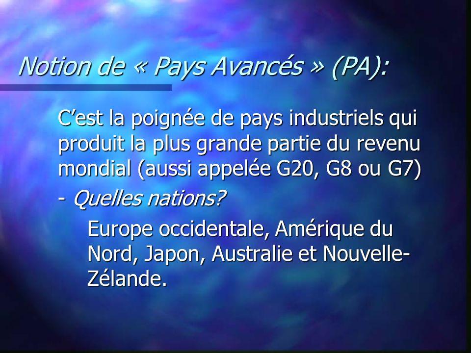 Notion de « Pays Avancés » (PA): Cest la poignée de pays industriels qui produit la plus grande partie du revenu mondial (aussi appelée G20, G8 ou G7)