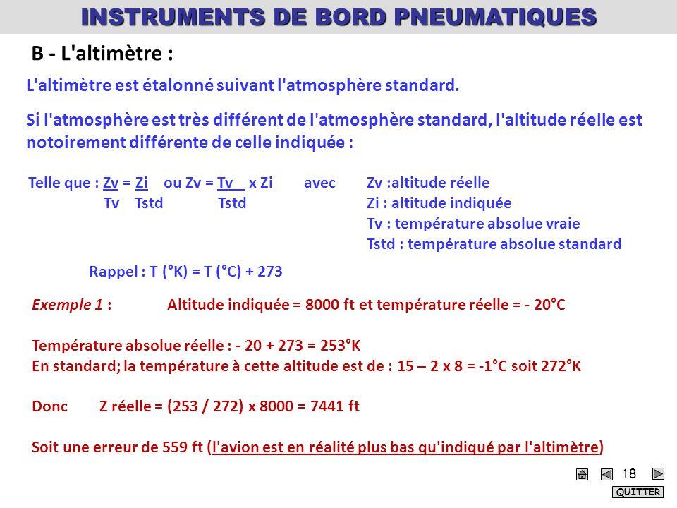 18 L'altimètre est étalonné suivant l'atmosphère standard. Si l'atmosphère est très différent de l'atmosphère standard, l'altitude réelle est notoirem