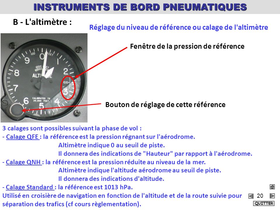 20 Réglage du niveau de référence ou calage de l altimètre Fenêtre de la pression de référence Bouton de réglage de cette référence 3 calages sont possibles suivant la phase de vol : Calage QFE - Calage QFE : la référence est la pression régnant sur l aérodrome.