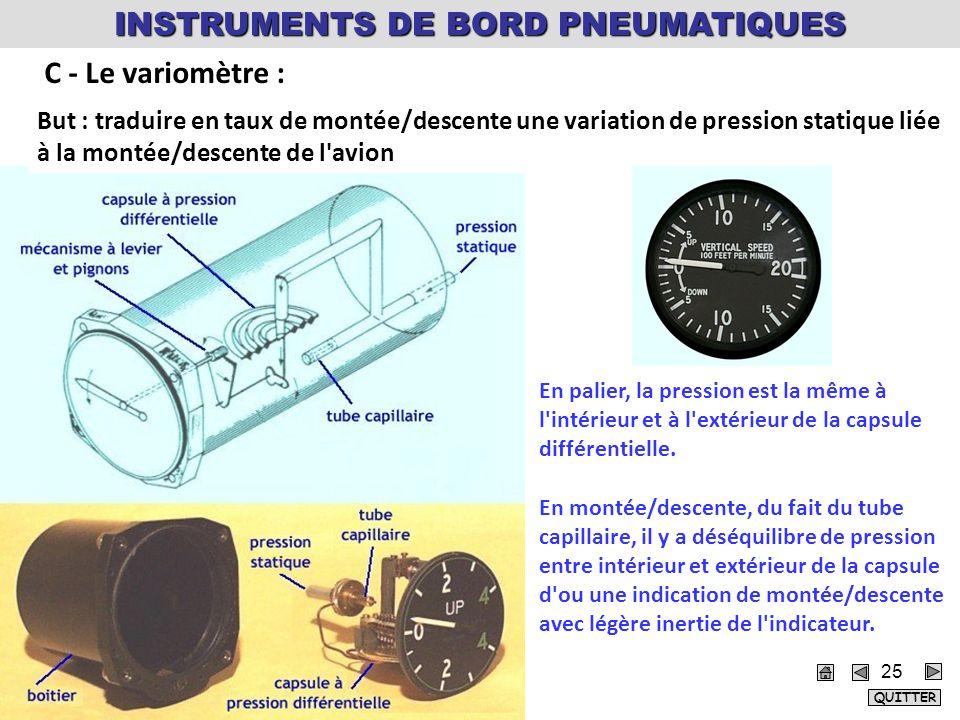 But : traduire en taux de montée/descente une variation de pression statique liée à la montée/descente de l avion En palier, la pression est la même à l intérieur et à l extérieur de la capsule différentielle.