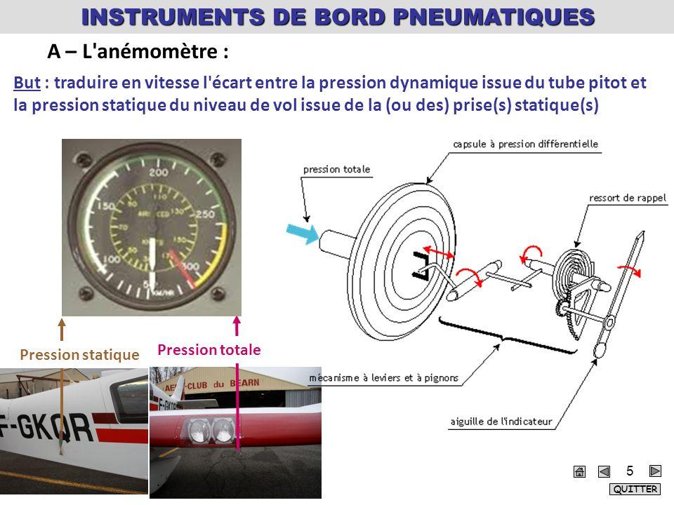 But : traduire en vitesse l écart entre la pression dynamique issue du tube pitot et la pression statique du niveau de vol issue de la (ou des) prise(s) statique(s) Pression totale Pression statique A – L anémomètre : INSTRUMENTS DE BORD PNEUMATIQUES QUITTER 5