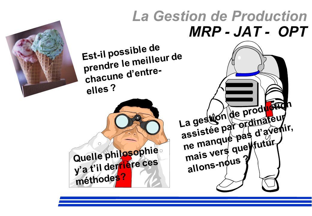 La Gestion de Production MRP - JAT - OPT La gestion de production assistée par ordinateur ne manque pas davenir, mais vers quel futur allons-nous ? Es