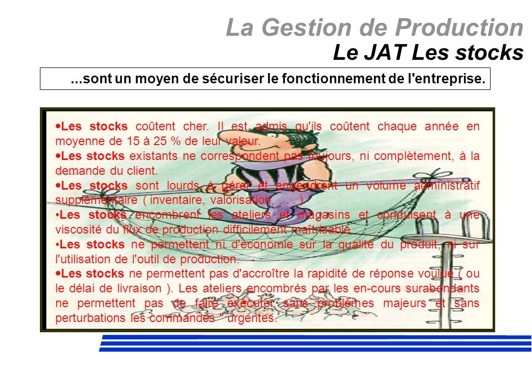 La Gestion de Production Le JAT Les stocks...sont un moyen de sécuriser le fonctionnement de l'entreprise. Les stocks coûtent cher. Il est admis qu'il