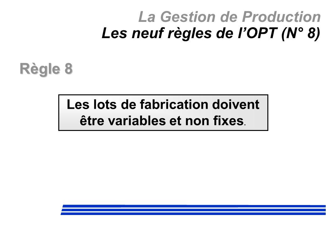 La Gestion de Production Les neuf règles de lOPT (N° 8) Règle 8 Les lots de fabrication doivent être variables et non fixes.