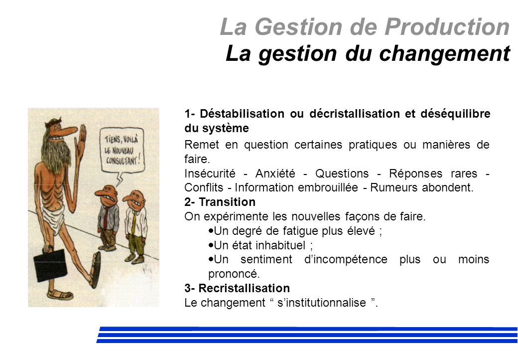 La Gestion de Production La gestion du changement 1- Déstabilisation ou décristallisation et déséquilibre du système Remet en question certaines prati