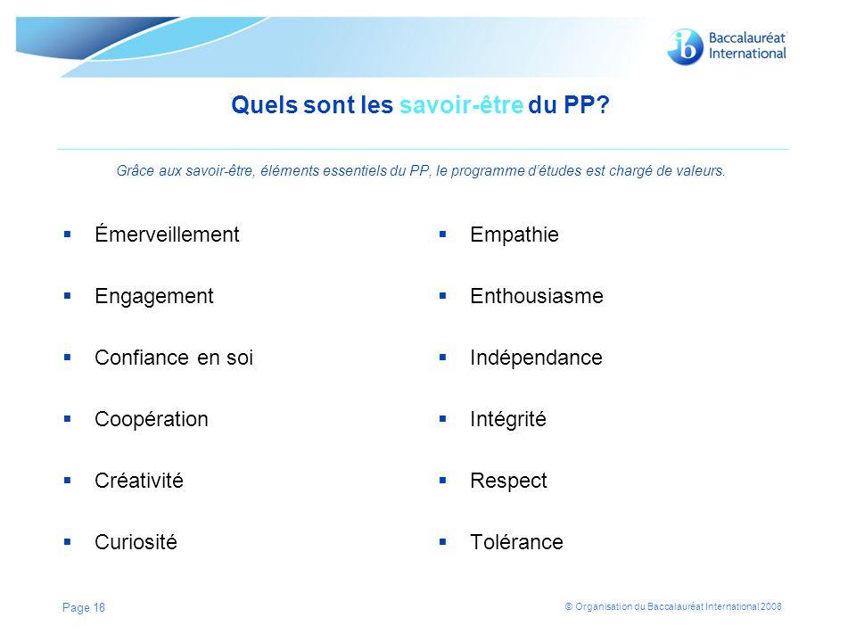 © Organisation du Baccalauréat International 2008 Quels sont les savoir-être du PP.