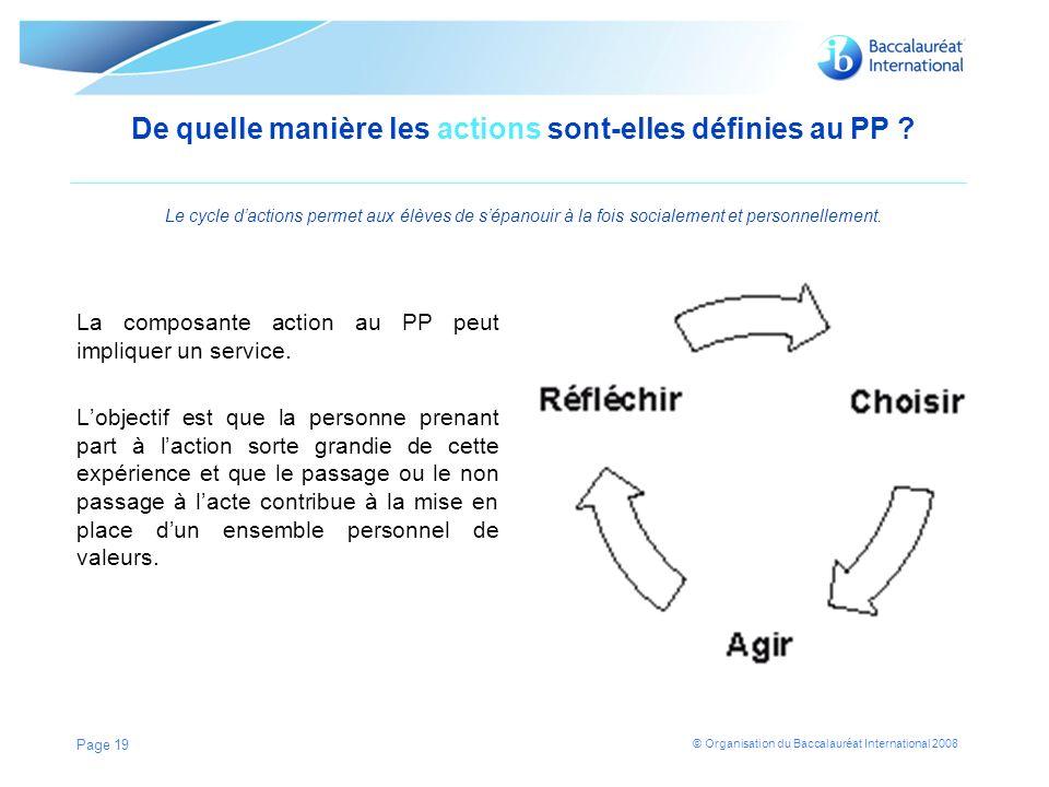 © Organisation du Baccalauréat International 2008 De quelle manière les actions sont-elles définies au PP .