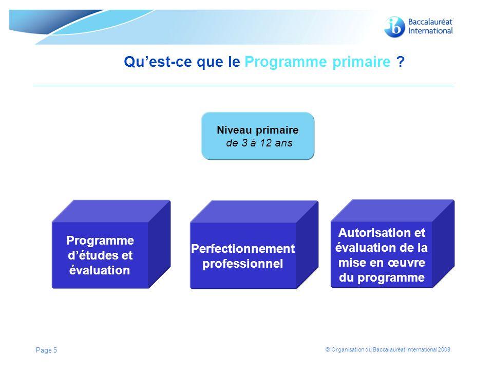 © Organisation du Baccalauréat International 2008 Page 5 Quest-ce que le Programme primaire .
