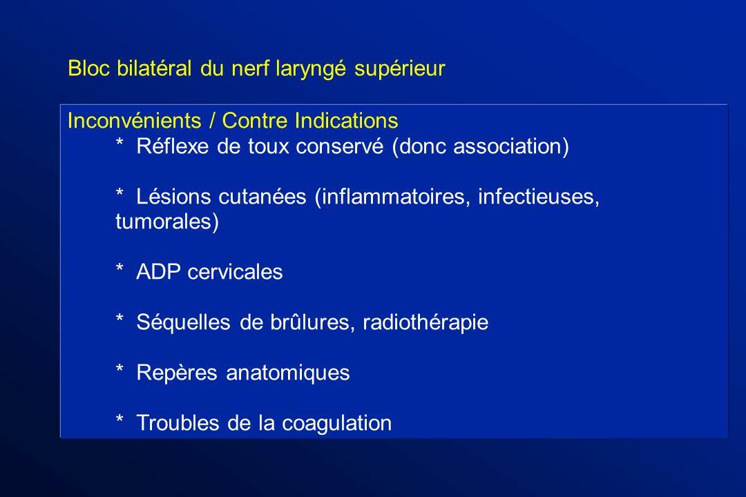 Bloc bilatéral du nerf laryngé supérieur Inconvénients / Contre Indications *Réflexe de toux conservé (donc association) * Lésions cutanées (inflammat