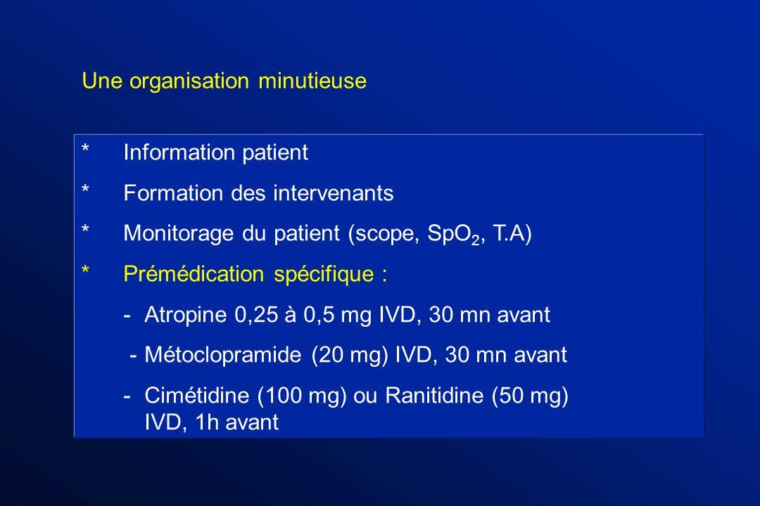 * Information patient *Formation des intervenants *Monitorage du patient (scope, SpO 2, T.A) * Prémédication spécifique : - Atropine 0,25 à 0,5 mg IVD