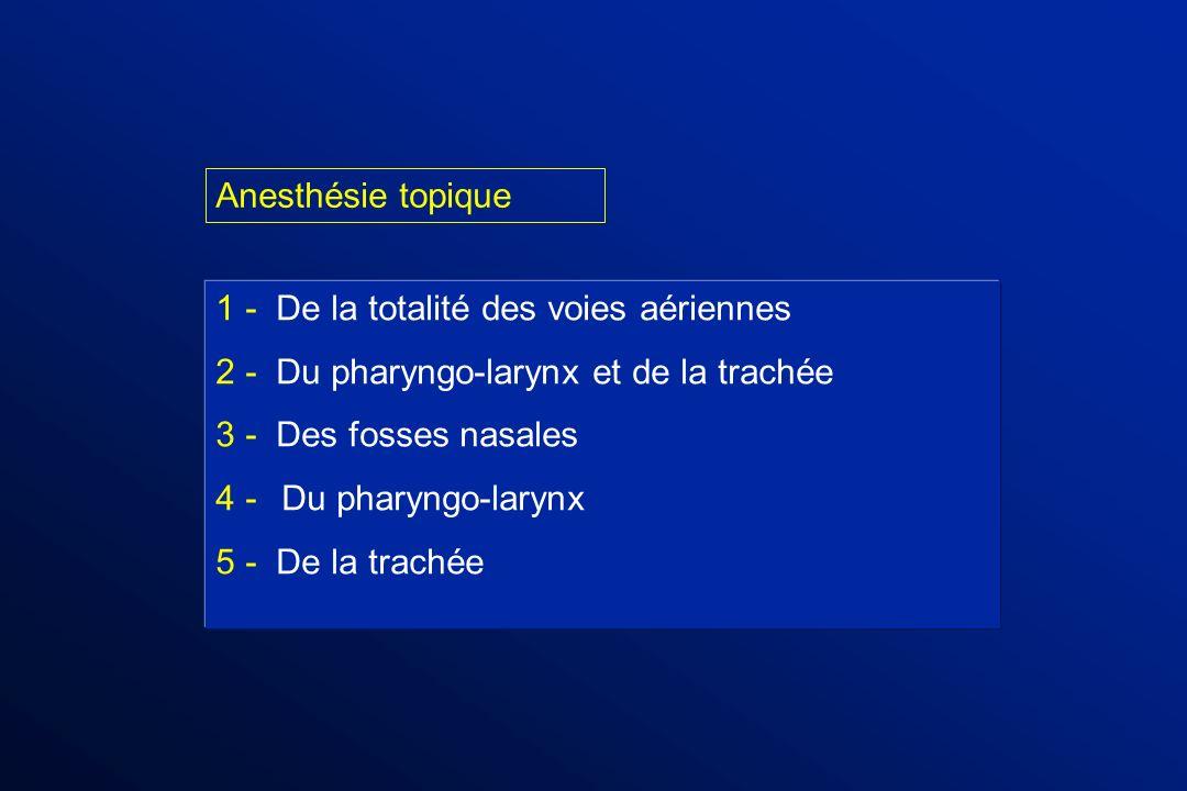 1 - De la totalité des voies aériennes 2 - Du pharyngo-larynx et de la trachée 3 - Des fosses nasales 4 - Du pharyngo-larynx 5 - De la trachée Anesthé
