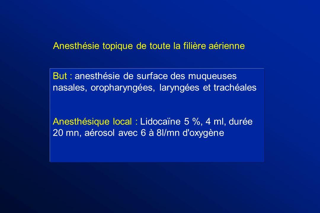 But : anesthésie de surface des muqueuses nasales, oropharyngées, laryngées et trachéales Anesthésique local : Lidocaïne 5 %, 4 ml, durée 20 mn, aéros