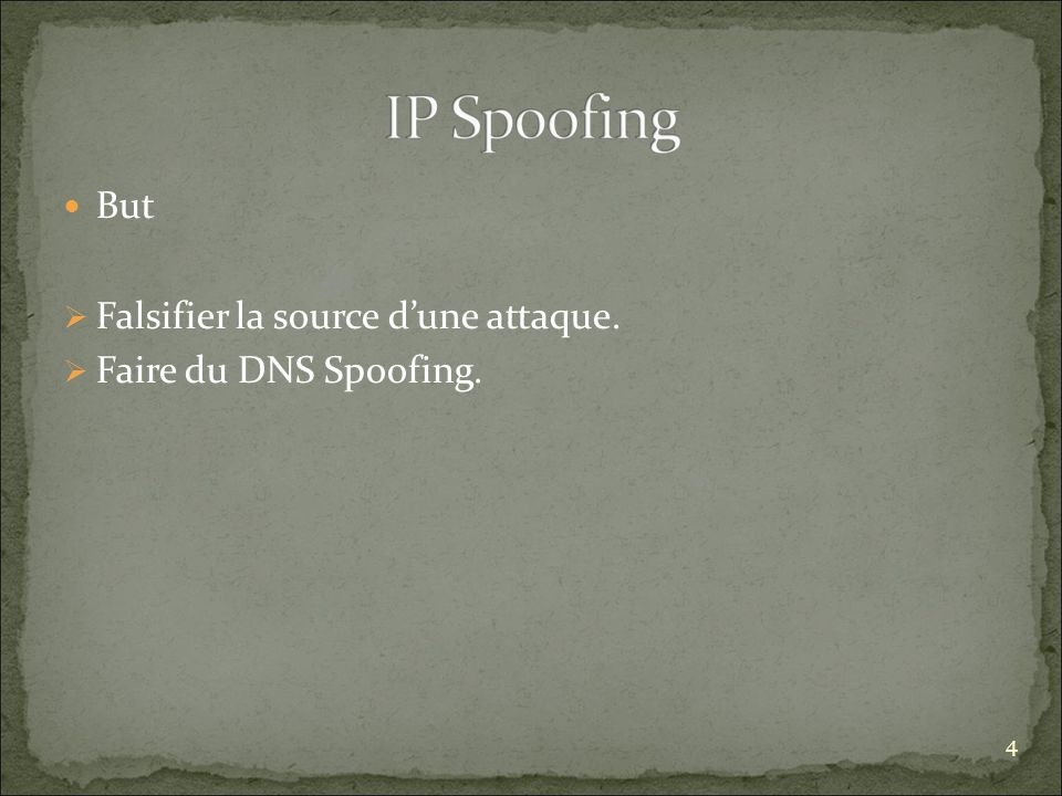 But Falsifier la source dune attaque. Faire du DNS Spoofing. 4