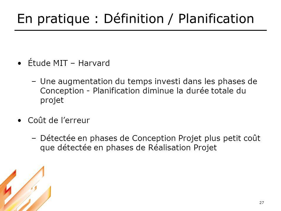 27 En pratique : Définition / Planification Étude MIT – Harvard –Une augmentation du temps investi dans les phases de Conception - Planification dimin