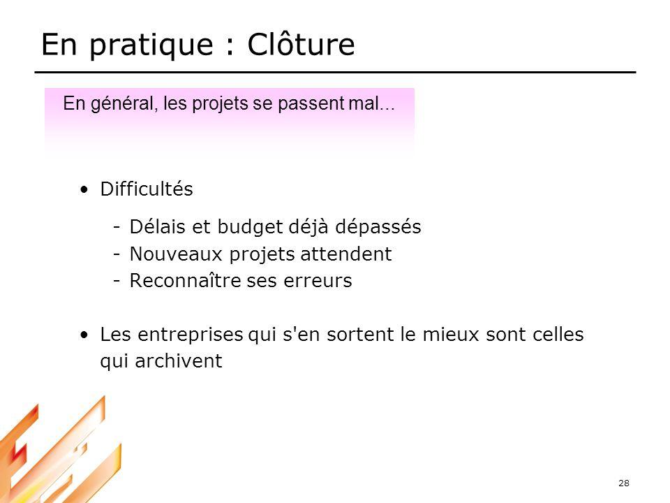 28 En pratique : Clôture Difficultés -Délais et budget déjà dépassés -Nouveaux projets attendent -Reconnaître ses erreurs Les entreprises qui s'en sor