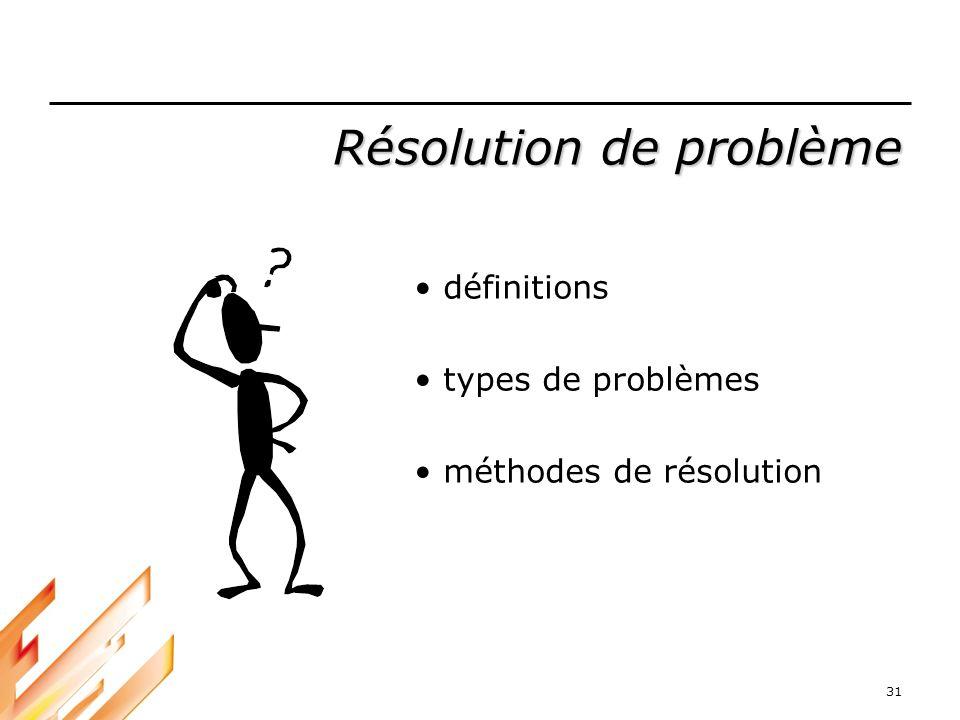31 Résolution de problème définitions types de problèmes méthodes de résolution