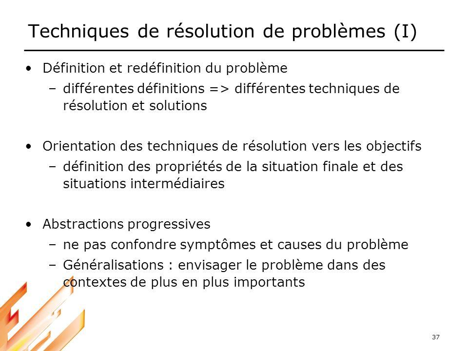 37 Techniques de résolution de problèmes (I) Définition et redéfinition du problème –différentes définitions => différentes techniques de résolution e