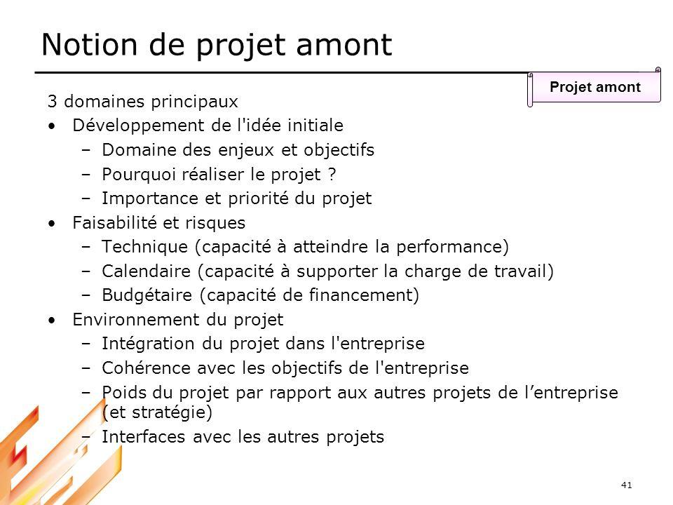 41 Notion de projet amont Projet amont 3 domaines principaux Développement de l'idée initiale –Domaine des enjeux et objectifs –Pourquoi réaliser le p