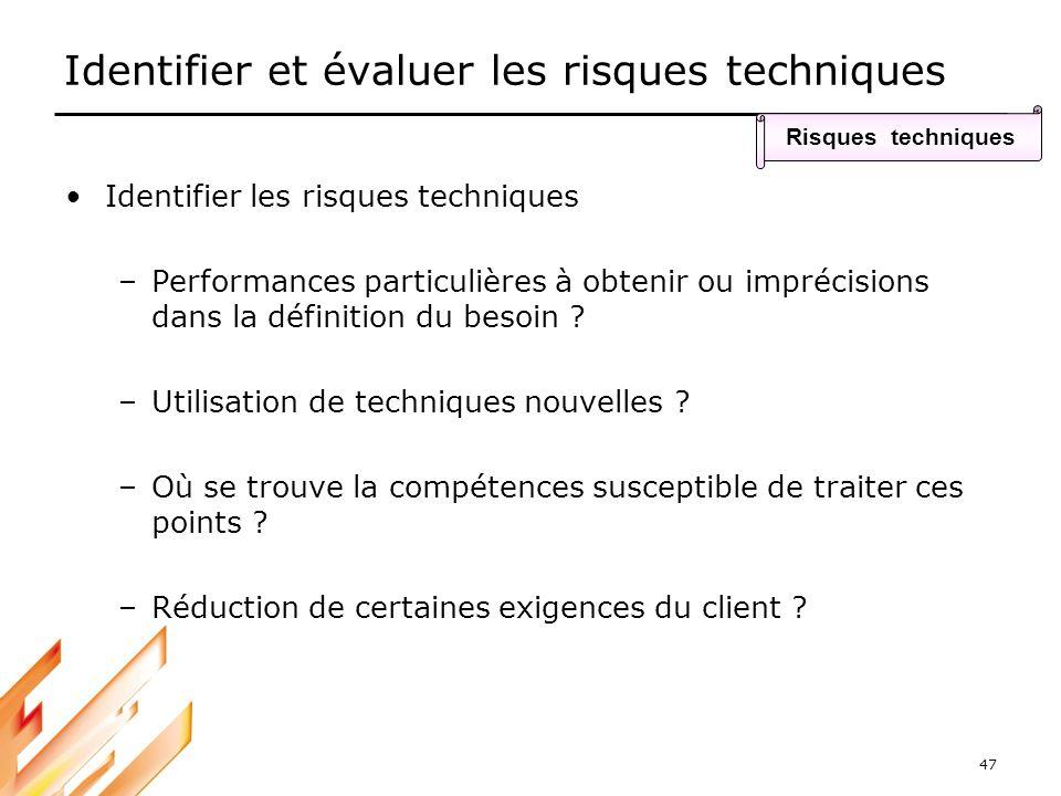 47 Identifier et évaluer les risques techniques Identifier les risques techniques –Performances particulières à obtenir ou imprécisions dans la défini