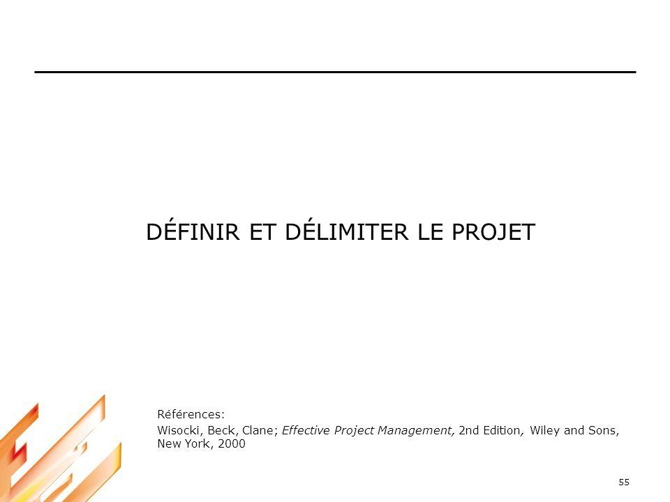55 DÉFINIR ET DÉLIMITER LE PROJET Références: Wisocki, Beck, Clane; Effective Project Management, 2nd Edition, Wiley and Sons, New York, 2000