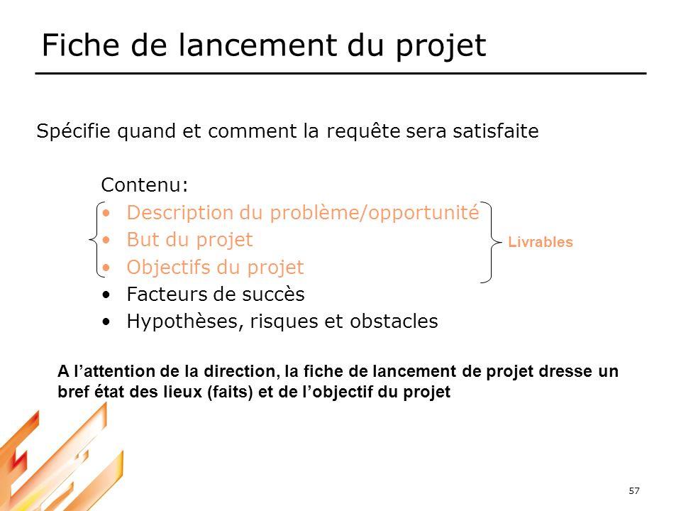 57 Fiche de lancement du projet Contenu: Description du problème/opportunité But du projet Objectifs du projet Facteurs de succès Hypothèses, risques
