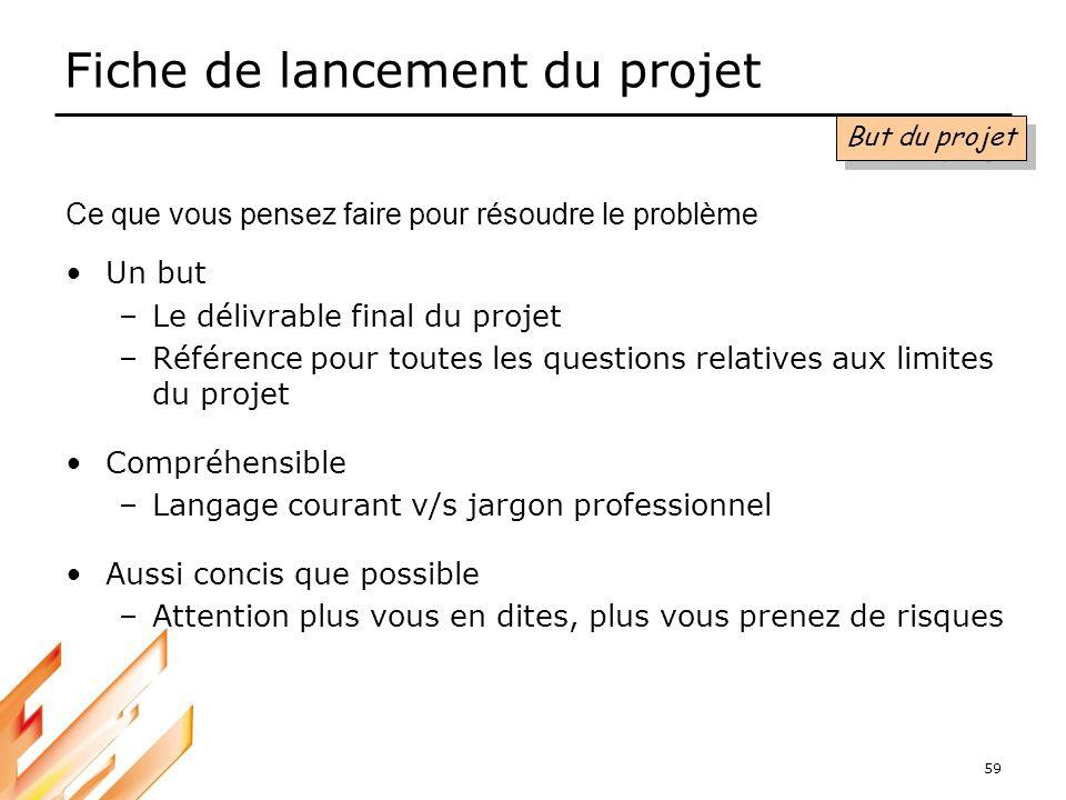 59 Fiche de lancement du projet Un but –Le délivrable final du projet –Référence pour toutes les questions relatives aux limites du projet Compréhensi