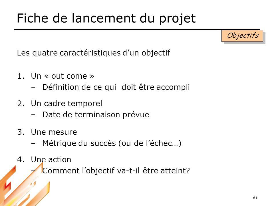 61 Fiche de lancement du projet 1.Un « out come » –Définition de ce qui doit être accompli 2.Un cadre temporel –Date de terminaison prévue 3.Une mesur