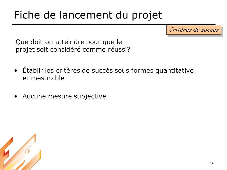 62 Fiche de lancement du projet Critères de succès Que doit-on atteindre pour que le projet soit considéré comme réussi? Établir les critères de succè