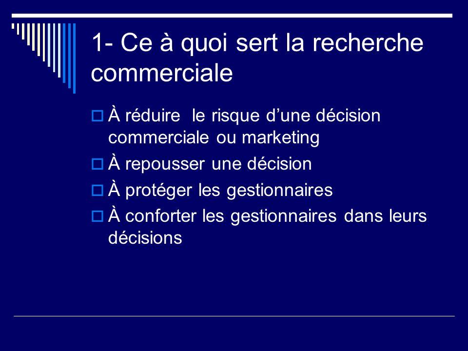 1- Ce à quoi sert la recherche commerciale À réduire le risque dune décision commerciale ou marketing À repousser une décision À protéger les gestionn