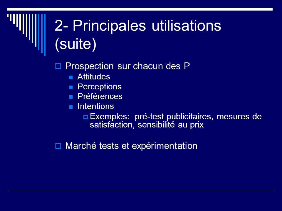 2- Principales utilisations (suite) Prospection sur chacun des P Attitudes Perceptions Préférences Intentions Exemples: pré-test publicitaires, mesure