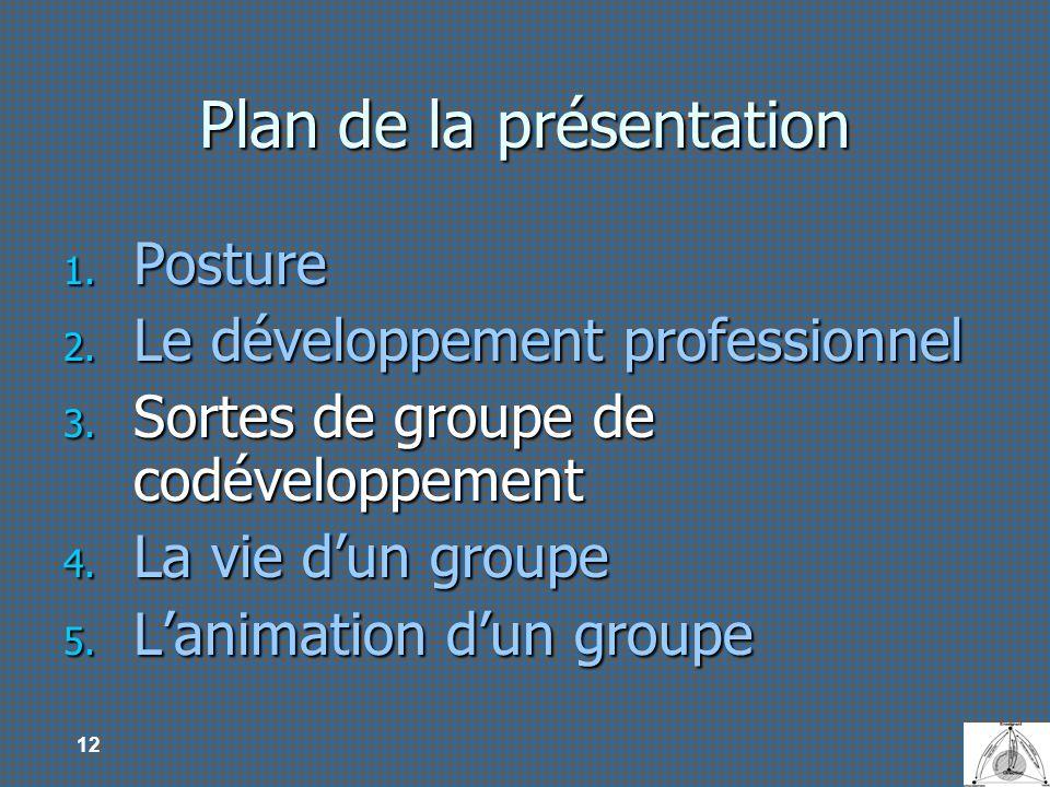12 Plan de la présentation 1. Posture 2. Le développement professionnel 3. Sortes de groupe de codéveloppement 4. La vie dun groupe 5. Lanimation dun