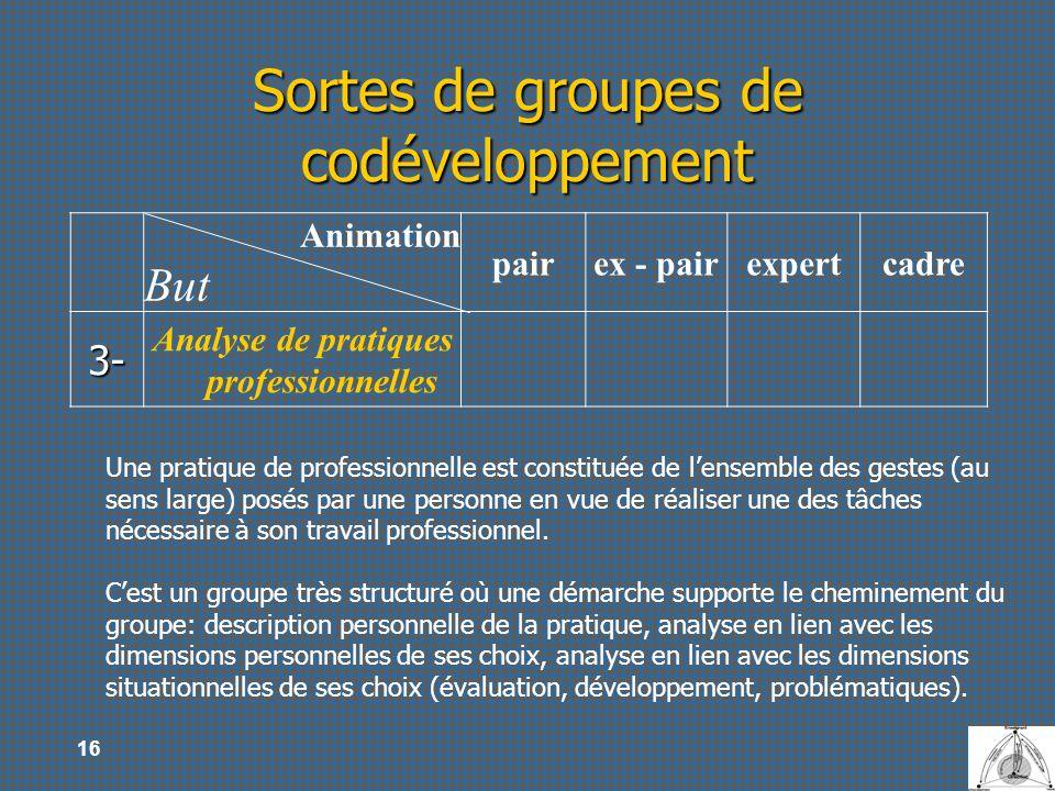 16 Sortes de groupes de codéveloppement Animation But pairex - pairexpertcadre 3- Analyse de pratiques professionnelles Une pratique de professionnell