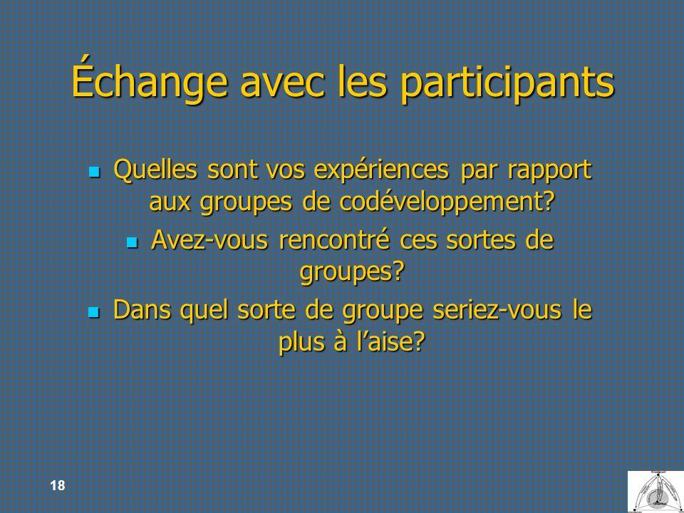 18 Échange avec les participants Quelles sont vos expériences par rapport aux groupes de codéveloppement? Quelles sont vos expériences par rapport aux