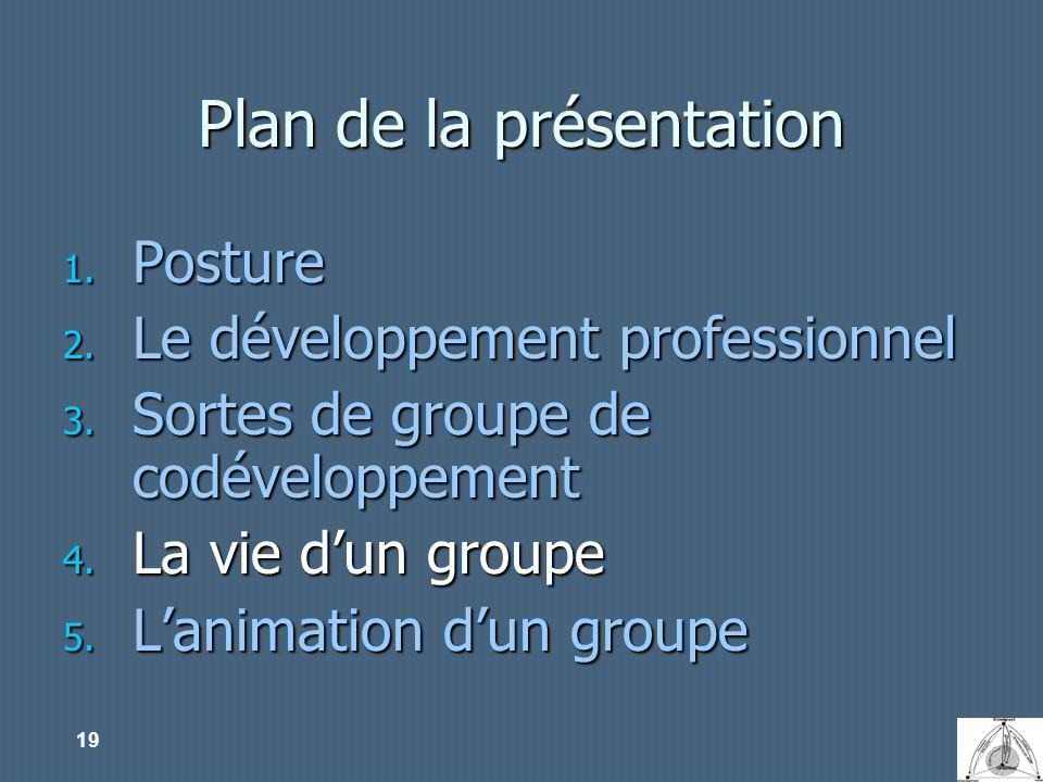 19 Plan de la présentation 1. Posture 2. Le développement professionnel 3. Sortes de groupe de codéveloppement 4. La vie dun groupe 5. Lanimation dun